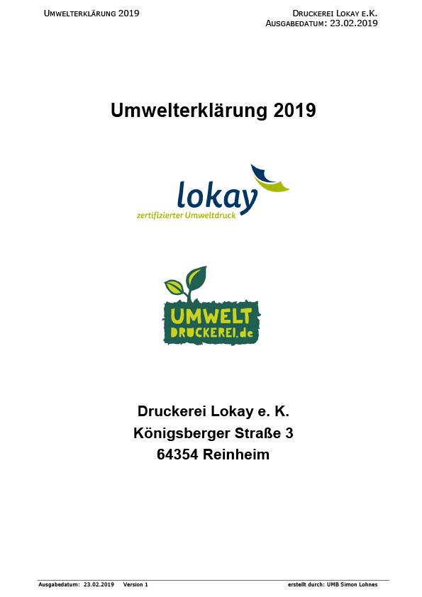 Umwelterklärung Lokay 2019